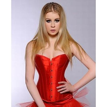 Free shipping New Sexy Lady Red Plaid Satin Overbust Bra Strap Corset Bustiers G-String Top Size  S-2XL