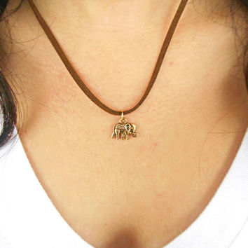 Gold Elephant Charm Necklace Dainty Jewelry Suede Pendant Leather Cord Necklace Bohemian Jewelry