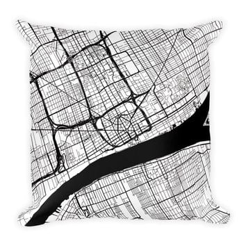 Detroit Map Pillow – Modern Map Art