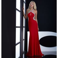 Red Dazzling Keyhole Open Back Dress