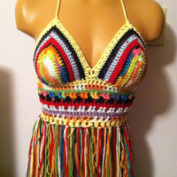 WEEK SALE - Crochet Festival Halter Tank Top in Multicolor - Made To Order