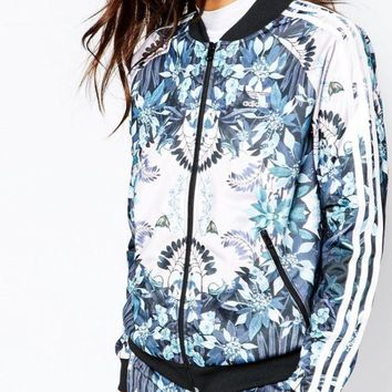 DCCKBA7 adidas Firebird Zip Through Track Top With Print