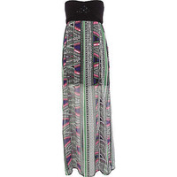 Black print macrame bandeau maxi dress