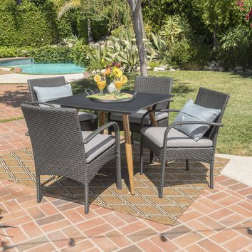 Naples Outdoor 5 Piece Wicker Dining Set with Tempered Glass Square Table