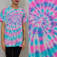 Tie Dye Shirt MED Hippie Soft Grunge Boho Spiral Girly Womens Unisex Handmade Clothing Pink Blue Short Sleeve Cotton Candy Kawaii Grunge