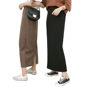 Split Back Preppy Solid Black Brown women's Long Skirt Harajuku Befree Dames Kawaii Clothes Ankle Length Skirts Ropa De Mujer