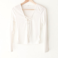 Lace Up Knit Top - Ivory