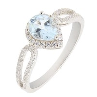 Beautiful Sterling Silver Pear Cut Heart Shape Natural Aquamarine Ring w/ Accent (2/3 CT.T.W) (6)