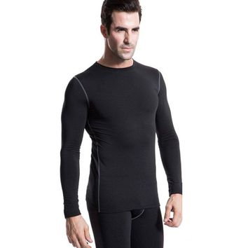 Fashion Men Plush Base Layer Long Sleeve Slim Fit Thermal Warm Underwear Tops Winter Undershirt
