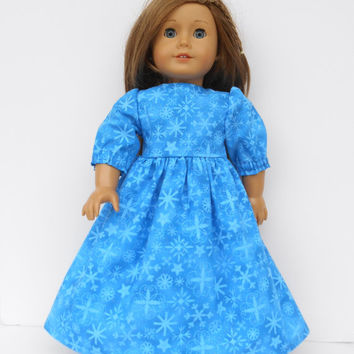 18 Inch Doll Clothes, Blue Doll Dress, Sparkly Snowflake Dress, Long Doll Dress, Winter Doll Clothes