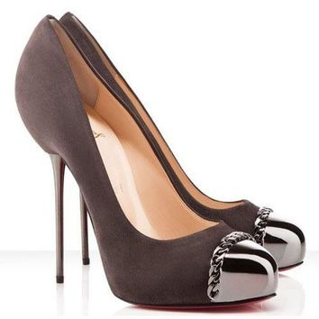 Christian Louboutin METALIPP 120 Suede Metal Spike Heel Cap Toe Pumps Shoes $995
