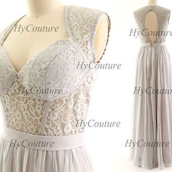 Silver Prom Dresses, Straps Long Chiffon Lace Prom Gown Open Back, Sweetheart Chiffon Lace Formal Dresses, Floor Length Wedding Party Gown
