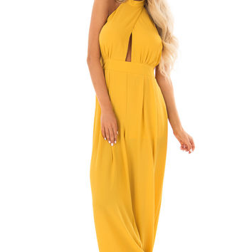 Tuscan Sun Mock Neck Jumpsuit with Open Back