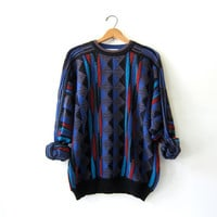 20% OFF SALE... Vintage 80s abstract sweater. Bill Cosby sweater. Oversized sweater. Crazy sweater.