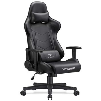 Vitesse Gaming Chair (Sillas Gaming) Video Gaming Chair Ergonomic Computer Desk Chair High Back Racing Style Comfortable Chair Swivel Executive Leather Chair with Lumbar Support and Headrest (Black)