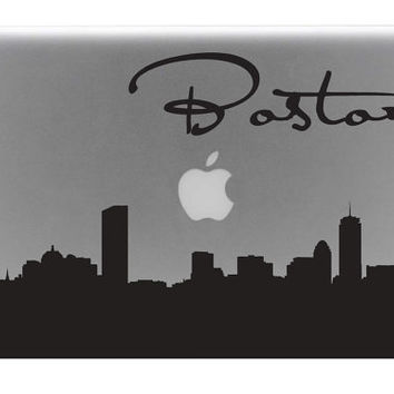 Boston Skyline Macbook Decal With Writing / Macbook Sticker / Laptop Decal