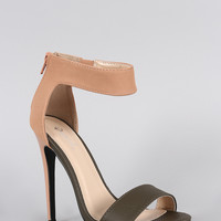 Qupid Sleek Contrasting Snake Open Toe Heel