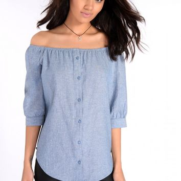 Jessa Denim Bardot Top