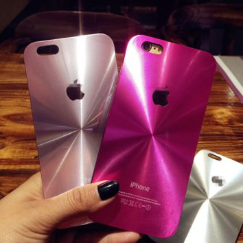 Pink Brushed Metal Face Case Cover for Apple iPhone 5s 5 SE 6 6S 6 Plus 6S Plus 11080501