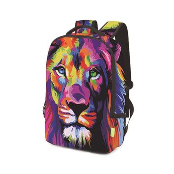 Student's 3D Lion Printed School Backpack