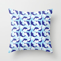 Dolphin Pattern Throw Pillow by Custom Patterns