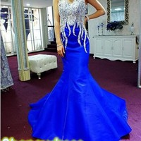 2015 Hot Fashion Evening Dresses Spaghetti Strap Crystal Beaded Royal Blue Mermaid Party Dress Long Court Train Corset Back Formal Prom Gown