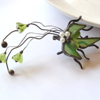 Statement jewelry stained glass brooch copper wire jewelry green