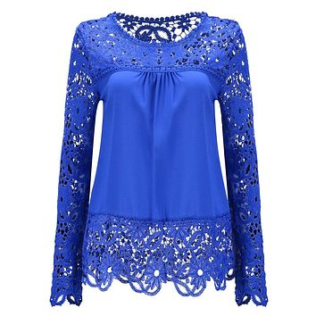women shirts summer plus size blouses long sleeve shirts cotton ladies 2017 Sheer Sleeve Embroidery Lace Crochet Chiffon Shirt