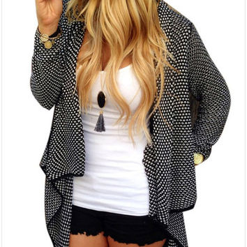 Black Patterned Long-Sleeve Asymmetrical Cardigan