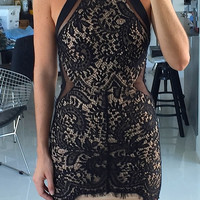 Combined Laced Bodycon Dress - Black