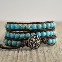 Sky blue beaded boho bracelet. Bohemian chic jewelry
