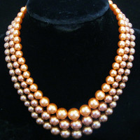 Signed JAPAN Multistrand Metallic Pearl Necklace 1950s Designer Signed Hollywood Regency Jewelry