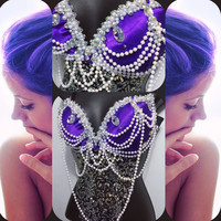 Purple Mermaid Goddess Bra-  rave, rave bra, halloween, costume, edm, festival, ariel, disney, pearls, siren