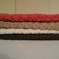 Four Cotton Washcloths in your choice of colors, Farmhouse Bathroom, Rustic Decor, Cottage Chic, Shabby Chic, Handcrafted, Crocheted gifts