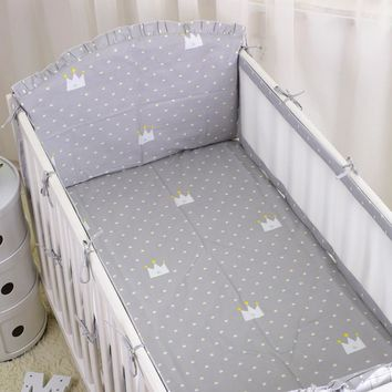 6pcs Breathable Baby Crib Bumper Summer  Baby Bedding bumpers Kid Bedding Sets infant Crib Liner Cot Sets Bed Around Protector