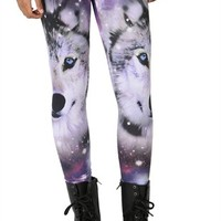Galaxy and Wolf Face Print Legging
