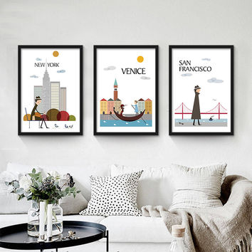 Abstract canvas prints canvas painting modern decorative art cartoon picture I LOVE NEW YORK LONDON CITY wall paintings NO FRAME