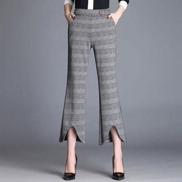 ONETOW plaid elegant Women trousers casual straight loose retro dance pants rave miyakefashion capris for Women 60k023