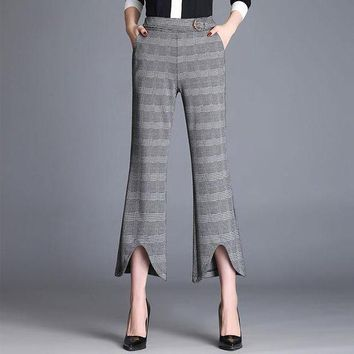 DCCKON3 plaid elegant Women trousers casual straight loose retro dance pants rave miyakefashion capris for Women 60k023
