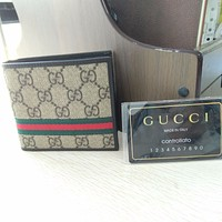 Gucci Mens Brown Red Green Classic GG Supreme Web Bi-fold Wallet Fashion Purse @