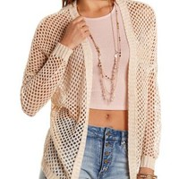 Taupe Open Stitch Cardigan Sweater by Charlotte Russe