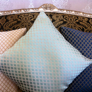 Set of Three, Navy - Beige - Mint Pillow Cover, Decorative Pillows, Cushion Covers, Throw Pillows, Mint Pillows, Navy Pillows, Beige Pillows