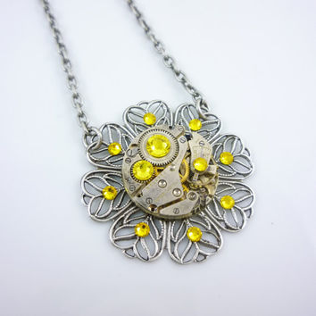 SteamPunk Necklace with Vintage Watch Movement and Bright Yellow Swarovski Crystals on Antique Silver Finish Filigree Pendant