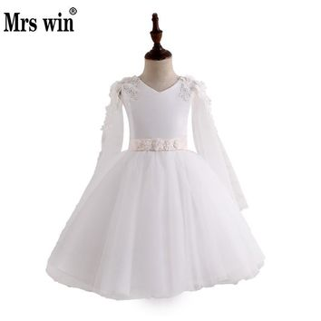 Vestido Daminha 2018 New Flower Girl Dresses Elegant White O-neck Full Sleeve Applique Ball Gown For Girls Robe De Bal Enfant X