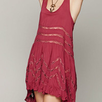 Red Lace Insert Ruffled Asymmetric Hem Dress