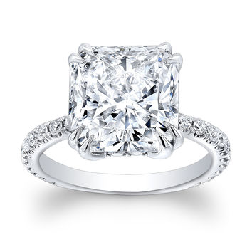 Ladies Platinum engagement ring with 2.60ct Cushion White Sapphire Center and 0.30 ctw G-VS2 diamonds