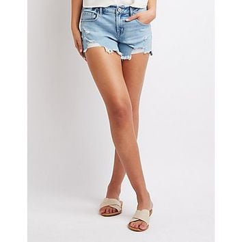 Refuge Destroyed Girlfriend Destroyed Denim Shorts | Charlotte Russe