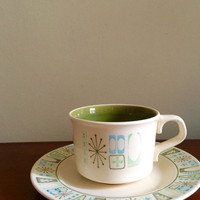 Twelve piece taylor smith taylor taylorstone 'cathay' tea cup/saucer set atomic age pattern