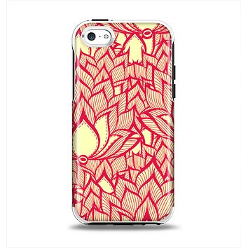 The Sketched Red and Yellow Flowers Apple iPhone 5c Otterbox Symmetry Case Skin Set