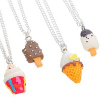 MJartoria Best Friends Forever Colorful Ice Cream Friendship Necklaces Set of 4